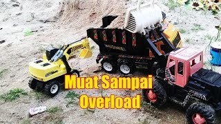Bulldozer Dan Excavator Keruk Pasir Muat Sampai Overload - Construction Toys