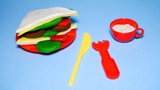 Bộ đồ chơi nấu ăn   Máy làm bánh mỳ sandwich kẹp thịt bò, phô mai, rau xà lách, cà chua bằng đất sét