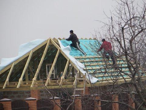 Четырёхскатная крыша из профнастила своими руками