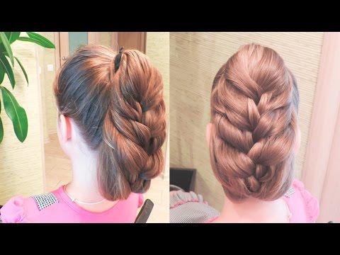 Легкая прическа на длинные волосы | Пышный хвост - коса