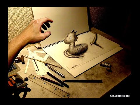 3D Drawing -How to draw 3D ART (Nessie) 3Dアートの制作風景