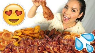 Crunchy Onion Rings & Chicken Wings Recipe 먹방 Mukbang Eating Show