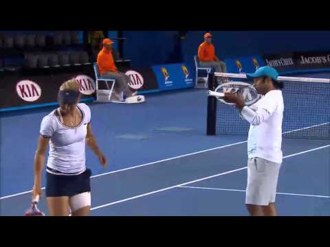 Elena Vesnina Hits Leander Paes - Australian Open 2013