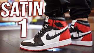 "2019 JORDAN 1 SATIN ""BLACK TOE"" REVIEW AND ON FEET !!!"