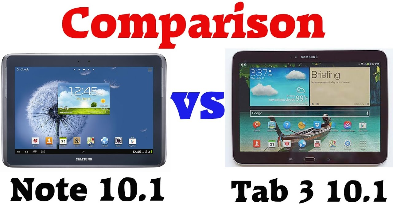 Comparison: Samsung Galaxy Tab 3 10.1 vs Note 10.1 ...