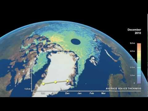 CryoSat: Arctic Sea-Ice Thickness (2010.10 - 2011.03) [720p] [3D converted]