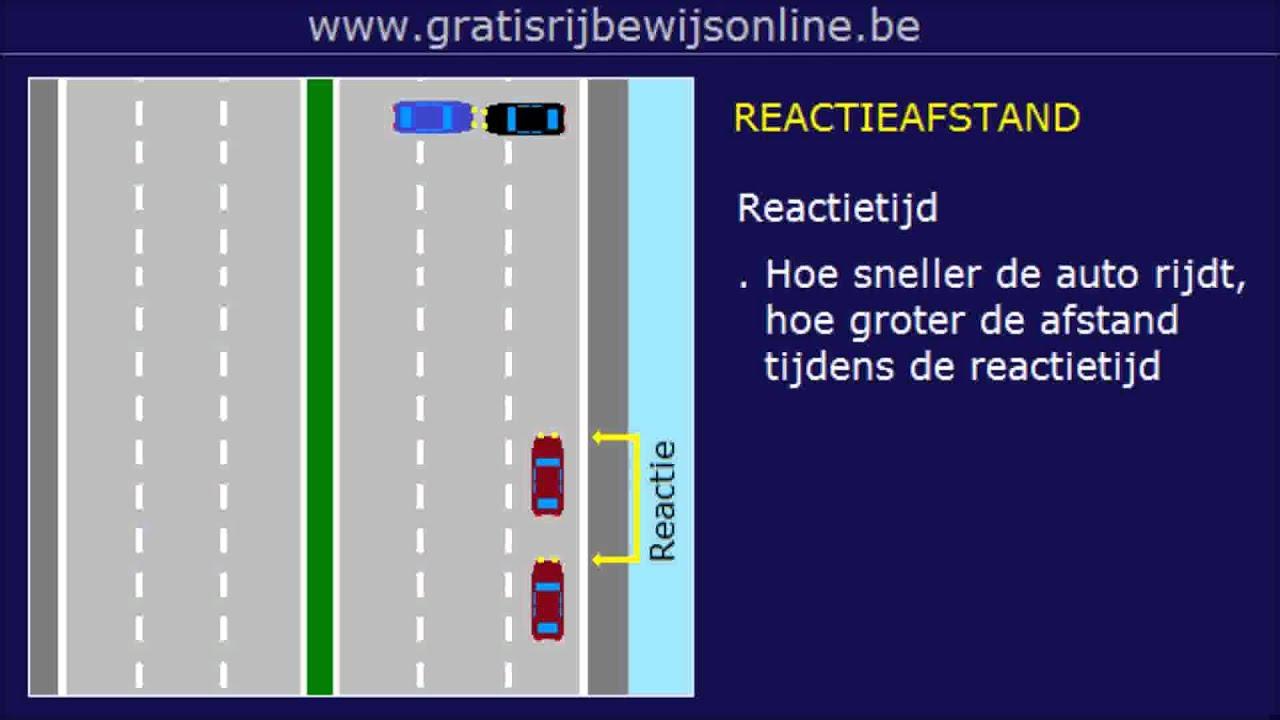 GRATIS RIJBEWIJS ONLINE (14) Rijbewijs B - STOPAFSTAND - REMWEG