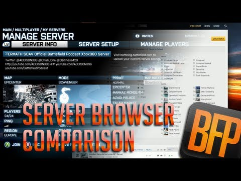 BF3 Server Browser Comparison - Consoles vs PC