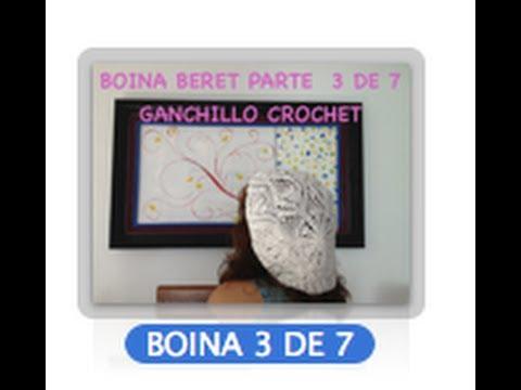 3 DE 7 COMO TEJER GORRO BOINA DISEÑO PIÑAS GANCHILLO CROCHET, DIY TUTORIAL