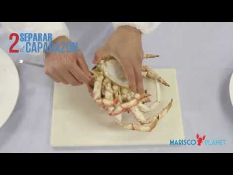 ¿Cómo se come el Centollo cocido en Marisco Planet?