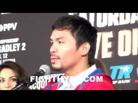 MANNY PACQUIAO SAYS TIMOTHY BRADLEY HAS PROVED A LOT SINCE THEIR FIRST MEETING