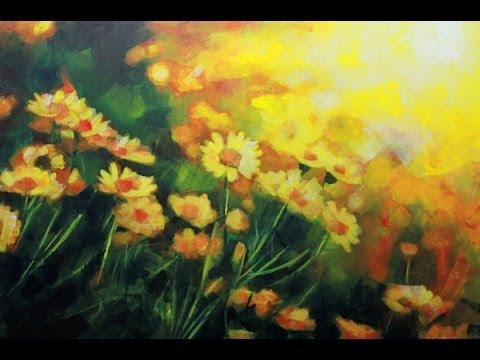 how to paint a field of flowers acrylic landscape