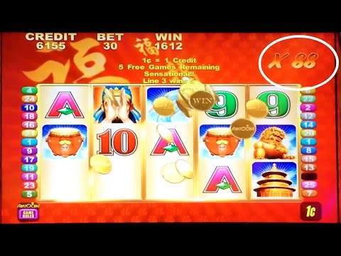 Aristocrat's Lucky 88 slot machine - 2 bonus tries with nice win