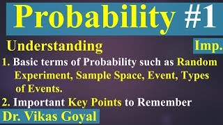 Probability #1 (Imp.) | Basics | Random Experiment | Sample Space | Event | Types of Events