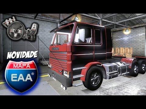 Euro Truck Simulator 2 - Mapa EAA v1.1 - Scania 142 frontal - Peidando na serra - Com Logitech G27