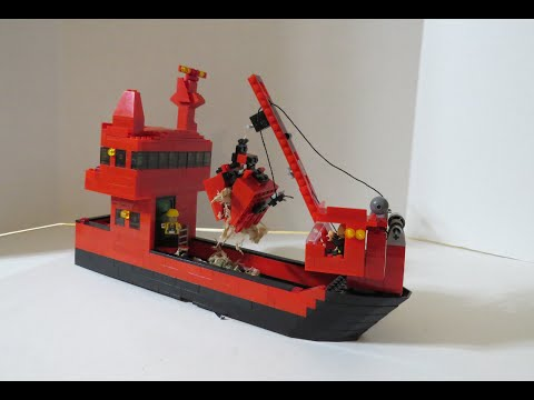 LEGO Dredger Ship MOC Working Crane With Dredging Bucket