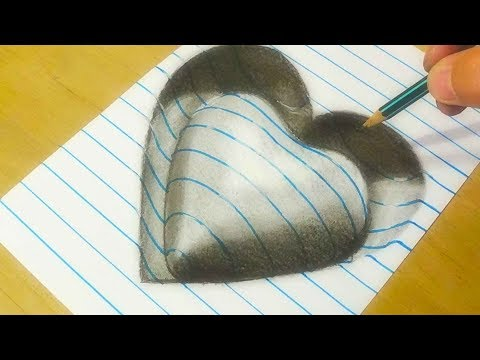 Drawing Heart  - Trick Art on Line Paper - Drawing with Charcoal Pencil - VamosART