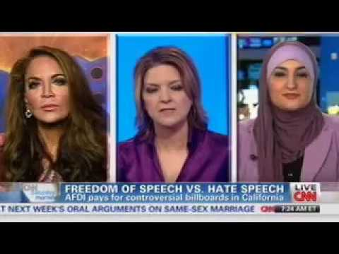 Pamela Geller on CNN Countering a Vicious Islamic Supremacist on the AFDI Bus ads