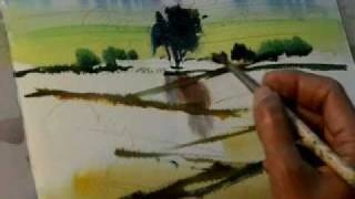 Well-known Painter Milind Mulick's demo of a landscape - Jyotsna Prakashan.flv