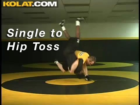 Single Leg to Hip Toss KOLAT.COM Wrestling Techniques Moves Instruction Image 1