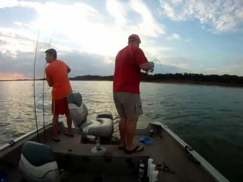 Top water fishing on Friday August 24, 2012 on Lake Lewisville, Dallas Texas with PittState.