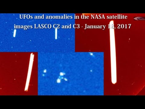 UFOs and anomalies in the NASA satellite images LASCO C2 and C3 - January 18, 2017