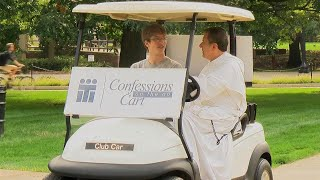 This Priest Hears Confessions On-the-Go in Golf Cart