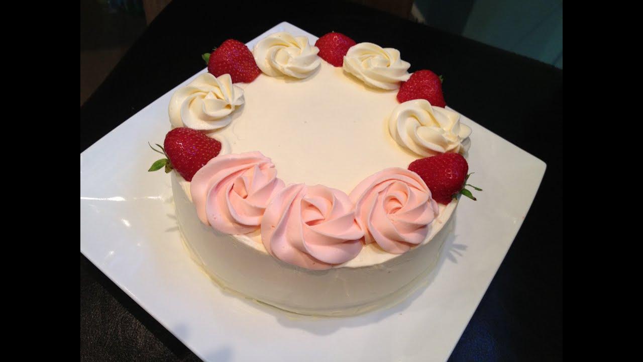 Homemade Cake Decoration Without Cream : Fresh Cream Cake - YouTube