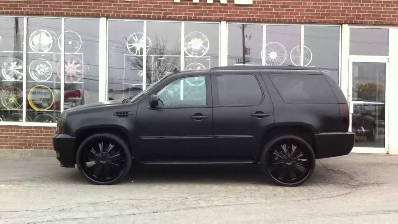 Matte Black Escalade On 28 Quot Rockstarr 411 Done By
