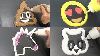 Emoji Pancake Art - Poop, Heart Eyes, Unicorn, Panda