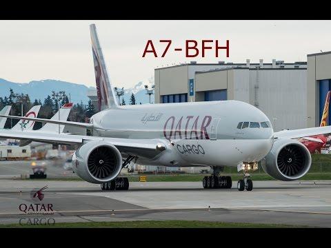 Qatar Airways Cargo 777F A7-BFH: final Customer test flight RTO, delivery flight_PAE to DOH