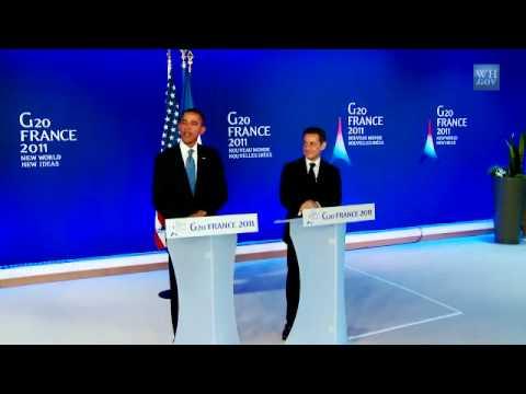U.S. President Obama and President Sarkozy of France Speak on Bilateral Meeting G20 in Cannes