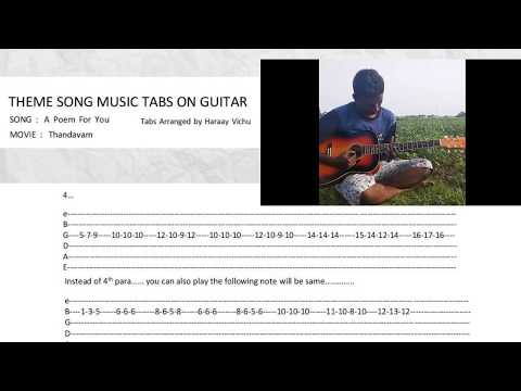 Thandavam Theme music on Guitar with Tabs simple notes From Thandavam Movie Theme music