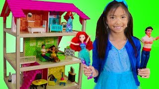 Wendy Pretend Play w/ Princess Ariel Doll Bedroom Playhouse & Furniture Toys
