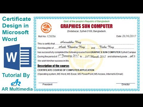How to Create Professional Certificate in Word 2010|Certificate Design in Microsoft word 2013
