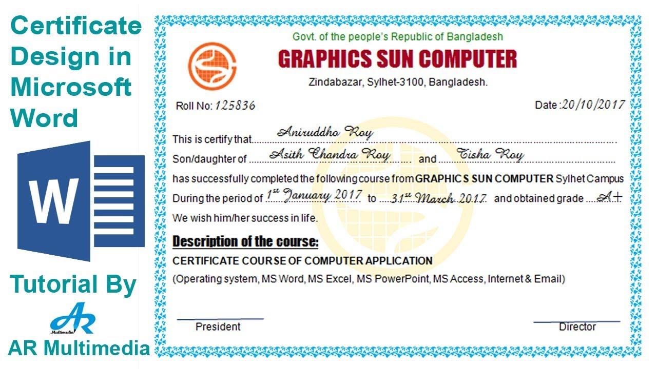 Word 2007 Certificate Template