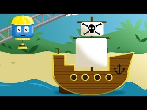 Pirate ship - Tom & Matt the Construction Trucks| Construction Cartoons in 3D for kids