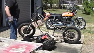 Removing old Honda CB 750 SS Motor from Cycle X Boxer  Frame