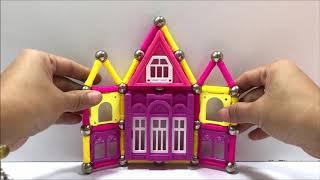 Đồ chơi nam châm ma thuật thông minh, xếp hình tòa lâu đài - Game and learning magnetic (Chim Xinh)