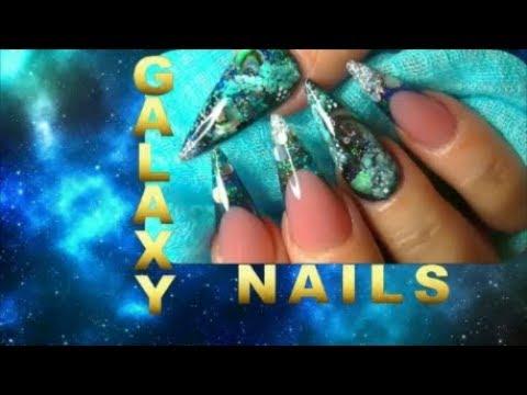 GALAXY, PLANETS AND PAUA SHELL BLACK HOLE ~ ACRYLIC NAILS   ABSOLUTE NAILS