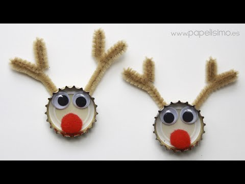 Adornos de Navidad reciclados con chapas de refresco