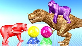 Learn Colourful Dinosaur Bear Gorilla Colour Song || Animals For Children Cartoon Colurs For Kids
