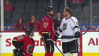 Tempers flare as Kings jaw at Tkachuk & Flames before puck drop