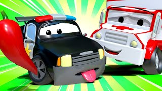 Amber the Ambulance - Matt The Police Car Burned His Lips! - Car City ! Trucks Cartoon for kids