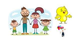 Bé tập vẽ tranh hoạt hình gia đình, vẽ tranh hình chú chim