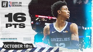 Ja Morant Full Highlights Grizzlies vs Spurs 2019.10.18 - 16 Points, 6 Assists!