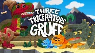 Three Billy Goats Gruff - Dinosaur Story - 3 Triceratops Gruff - T-Rex Fairytale