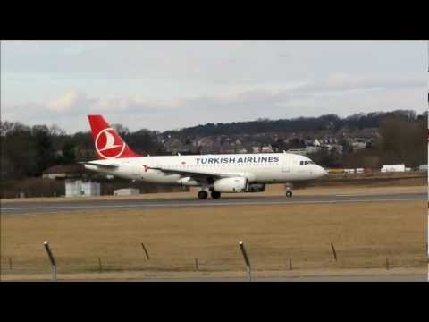 Turkish Airlines Airbus A319 takes off from Edinburgh Sat 23 Feb 2013