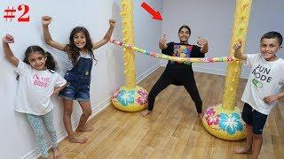 Kids Inflatable Limbo Challenge 2 ! family fun vlog video