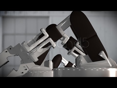 444 Robot Mechanical Construction. Stock Footage